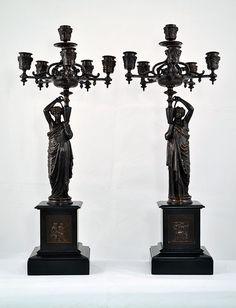 Grande paire de candélabres bronze clock empire clock kaminuhr cartel pendule