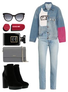 Double Denim by pstm on Polyvore featuring polyvore, fashion, style, Alexander Wang, Off-White, Yves Saint Laurent, Hogan, DKNY, Fendi, Chanel and clothing