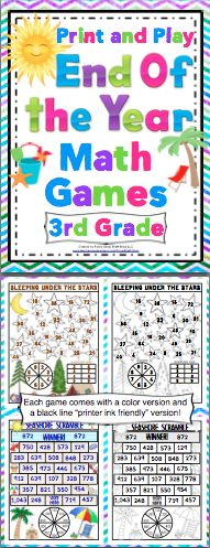 End of the Year 3rd Grade Math Games - Your class will have a blast with this set of 15+ print and play math games. You can have fun and keep it academic until the end of the year! $