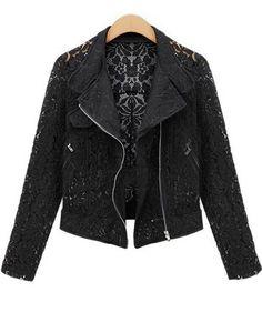 527481f7ce5d1 Shop Black Long Sleeve Hollow Lace Crop Outerwear online. Sheinside offers  Black Long Sleeve Hollow