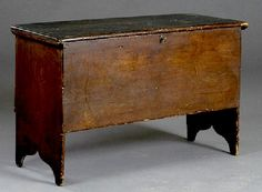 antique painted new england blanket chest   Furniture: Blanket Chest   Pine 6-Boards Old Dark Finish Snipe