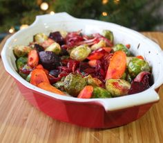 Roasted Brussel Sprouts, Beets & Carrots.  I didn't use the brown sugar, used spices...just roasted...yummy!