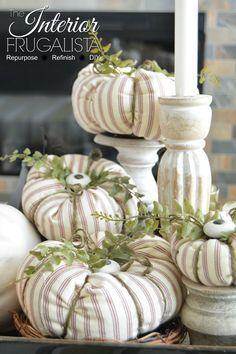 Fabric Pumpkins with cabinet knob stems | The Interior Frugalista Diy Pumpkin, Pumpkin Crafts, Fall Crafts, Holiday Crafts, Pumpkin Ideas, Fabric Pumpkins, Fall Pumpkins, Sweater Pumpkins, Velvet Pumpkins