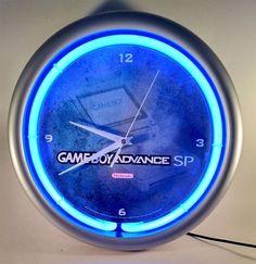 Retro Nintendo Game Boy Advance SP Blue Neon Clock Sign Light Display Works! #Nintendo