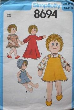 UNCUT VINTAGE SIMPLICITY RAG DOLL with CLOTHES PATTERN 18  or 45.5cm