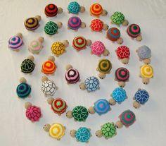 Colourfull amigurumi turtels.
