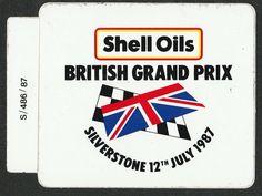 1987 BRITISH GP SILVERSTONE SHELL ORIGINAL STICKER ADESIVO AUFKLlEBER MANSELL