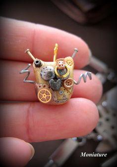 Polymer clay Steampunk owl