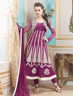 $110.84 Purple Full Sleeve Net Long Anarkali Salwar Kameez 21132
