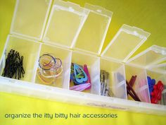Great for organizing small things. You can purchase these at the dollar store... sweet!!!