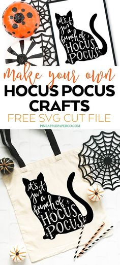 Master Bedroom Decorating Concepts - DIY Crown Molding Set Up Free Halloween Svg - Hocus Pocus Svg By Pineapple Paper Co. Make A Diy Halloween Tote Bag And Other Halloween Decorations Diy Halloween Shirts, Dollar Store Halloween, Halloween Projects, Halloween Fonts, Hocus Pocus Halloween Decor, Classy Halloween, Halloween Office, Halloween Designs, Diy Projects