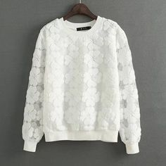 New 2017 Round Neck Hedging Sweatshirt Women Lace Hollow Out Female Hoodies All-Match Bottoming Sudaderas S~XL Moletom Feminina