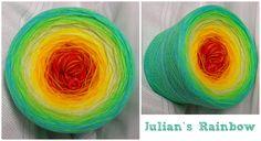 Bobbel *Julian`s Rainbow* Material: Hochbauschacryl 7 Farben (Mix) karminrot goldgelb gelb lindgrün heller Apfel neongrün aqua