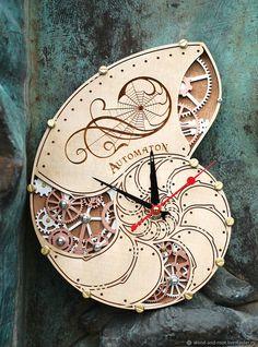 Wooden Clock   Часы настенные Автоматон Nautilus - часы, настенные часы, подарок, стимпанк, для него, кабинет, библиотека