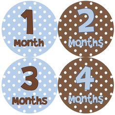 Baby Month Stickers Baby Boy Monthly Onesie Stickers Blue Brown by getthepartystarted, $12.00 more baby shower gift ideas at  http://www.etsy.com/shop/getthepartystarted?section_id=6771147