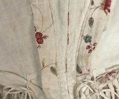 C 1775 cotton dimity inside. Bodice lined with linen. Skirt unlined.