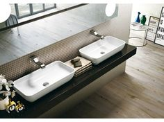 Countertop rectangular ceramic washbasin PASS | Rectangular washbasin - CERAMICA FLAMINIA