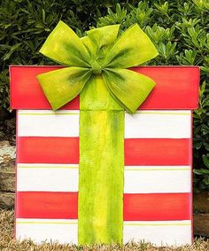 big outdoor christmas gift box decoration red white and green stripes - Decorative Christmas Gift Boxes With Lids