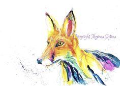 MORENA ARTINA Original contemporary PAINTING Large 14 x 11 inches Foxy Fox