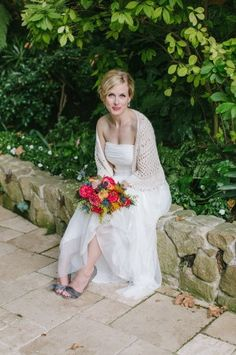 This bride's knitted shawl is such a lovely way to include something homemade. Wedding Sweater, Bridal Cover Up, Older Bride, Wedding Bride, Wedding Dresses, Outfit, Wedding Details, Wedding Inspiration, Wedding Ideas