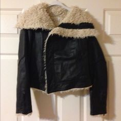 Rachel Roy 100 % leather jacket No Trades please No flaws gently used 5 times black leather really warm super cute bust 18 length 20 not very long Rachel Roy Jackets & Coats
