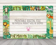 PRINTABLE Jungle Animals photo booth frame Safari photo booth