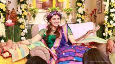 Ahana Deol - Bollywood celebrity Mehndi. Flower garland in hair.