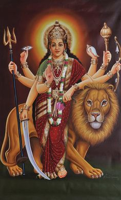 Durga is one of the incarnations of Devi or the original Mother Goddess in Hinduism. She represents the power of the Supreme Being and s. Mother Kali, Divine Mother, Kali Goddess, Mother Goddess, Durga Maa, Shiva Shakti, Shiva Art, Hindu Art, Bhagavad Gita