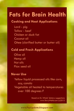 Brain Food: Guide to Healthy Fats for Cooking and Dressing - Wahls Paleo Diet