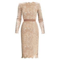 Champagne Long Sleeve Floral Lace Scalloped Hem Dress ($29) ❤ liked on Polyvore featuring dresses, vestidos, short dresses, sheinside, champagne, vintage floral dress, sheath dress, lace dress, vintage white dress and short lace dress