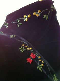 Reduced Vintage Embroidered Silk Velvet Wrap by socallrare on Etsy