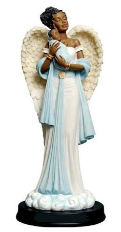 Buy the Graceful Angels collection. This African American Angel is dressed in blue holding and protecting a newborn baby boy. Figurine is inches in height and is made from poly resin material. African Figurines, African American Figurines, Black Figurines, African American Women, American Baby, Reborn Baby Boy, Reborn Babies, Black Angels, Black Artwork
