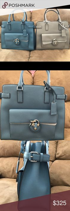 """NWT Authentic Michael Kors Emma Satchel ~*~*Brand new Authentic Michael Kors Emma Saffiano Large Leather Satchel                            ~*~*PRODUCT DETAILS~*~* material - saffiano leather  color - cornflower  Measures approx 13"""" x 11 1/2""""  double handle - 4.5"""" drop  longer strap - adjustable 18-20"""" drop  interior - 1zip pocket,4 open pockets,center zip divider compartment  exterior - 1front pocket with magnetic snap closure  tag attached,dust bag,card included in original packaging…"""