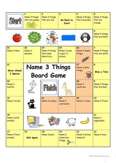 Board Game - Name 3 Things (Easy) - English ESL Worksheets for distance learning and physical classrooms English Activities, Activities For Kids, English Games For Kids, Seasons Activities, English Lessons, Learn English, Ingles Kids, Speaking Games, Board Games For Kids