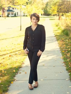 grey et al :: black on black.  fall work outfit.