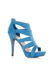 Pale Blue (Blue) Blue Caged Zip Back Heels  | 298645645 | New Look