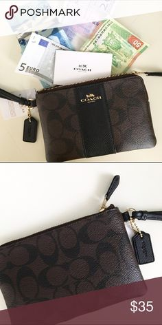 Coach Signature Wristlet Signature leather wristlet from Coach. NWT with care card. ❤️10% bundle discount. Free Clinique gift with $25 purchase. Please see listing in my closet. Free shipping with $75 purchase. ❤️Reasonable offers welcome. No trades. Coach Bags Clutches & Wristlets