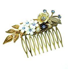 Something Blue Vintage Wedding Hair Comb. $60.00, via Etsy.