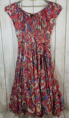 Chelsea & Theodore Red Paisley Peasant Top Empire Waist Dress Sz. XL #ChelseaTheodore #FullEmpireWaist #All