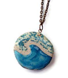 Ocean Wave Necklace  Mosaic Tile Reversible Pendant by michemozaix, $35.00