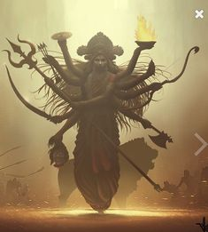 Goddess Durga is regarded as the Supreme Power which is the driving force behind all the acts of creation, preservation and destruction. The Goddess is depicted with ten hands holding weapons and riding a lion. Indian Goddess Kali, Goddess Art, Durga Goddess, Indian Gods, Goddess Warrior, Shiva Shakti, Shiva Art, Krishna Art, Kali Hindu