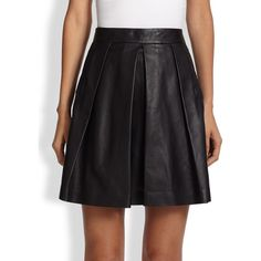 Proenza Schouler Pleated Leather Skirt (1 030 AUD) ❤ liked on Polyvore featuring skirts, mini skirts, apparel & accessories, black, pleated leather skirt, black leather mini skirt, short skirts, pleated leather mini skirt e long leather skirt