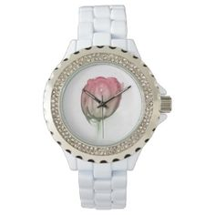 Red tulip wristwatch - red gifts color style cyo diy personalize unique