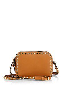 Valentino Studded Leather Camera-Style Crossbody Bag