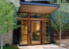modern entry with corner sidelights