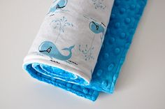 Baby Blanket Whales in Sea and Dark Turquoise by SirBubbadoo, $35.00