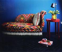 Madeline Weinrib Dashwood Ikat Fabric upholstered sofa in March 2011 House & Garden.