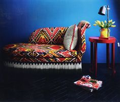 Madeline Weinrib Dashwood Ikat Fabric upholstered sofa in March 2011 House & Garden. #TRIAD