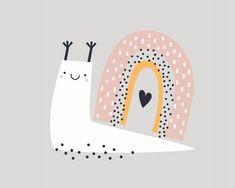 Cute childish print with cute animal sna. Tableau Design, Rainbow Art, Baby Kind, Baby Prints, Cute Illustration, Nursery Wall Art, Snail, Cute Animals, Tribal Animals