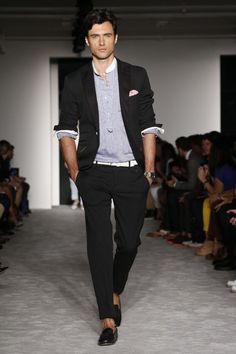 Shop this look on Lookastic:  http://lookastic.com/men/looks/henley-shirt-blazer-belt-dress-pants-loafers/8296  — Grey Henley Shirt  — Black Blazer  — White Leather Belt  — Black Dress Pants  — Black Leather Loafers